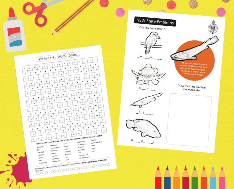 School Holiday Fun! NSW State Emblems Colouring-in Competition and Word Challenge